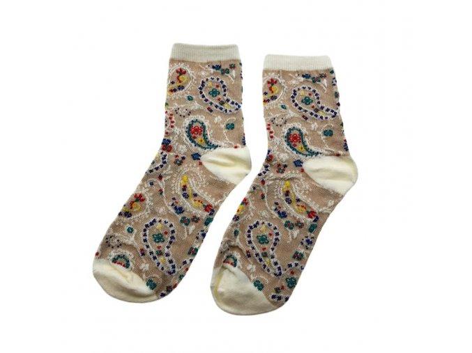 Dámské ponožky s květinovým vzorem