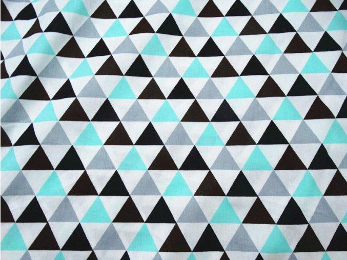 Stylová látka s motivem trojúhelníků