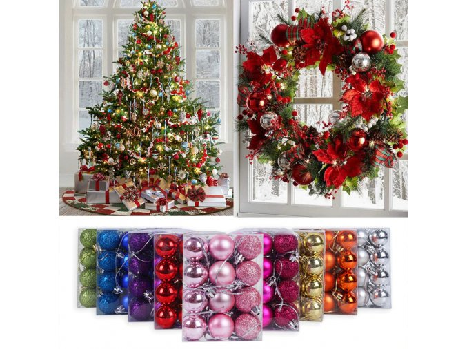0 main 24pcs 3cm christmas ball glitter christmas tree ornaments hanging christmas home decorations palline natale decor navidad 2020
