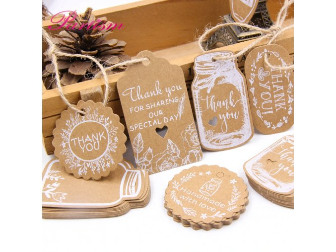 0 main 50pcs kraft paper tags diy handmadethank you multi style crafts hang tag with rope labels gift wrapping supplies wedding favors