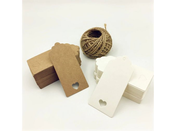 0 main 100pcs white brown hollow heart paper hang tags diy scallop label wedding gift decorating tag luggage note 15m rope 94cm