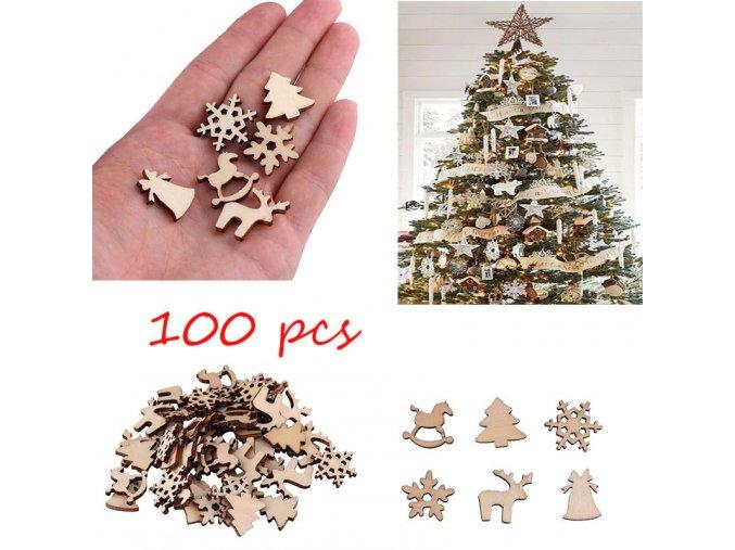 0 main 100pcs christmas decoration wooden snowflake christmas tree deer trojan natural wooden diy christmas tree hanging ornaments f