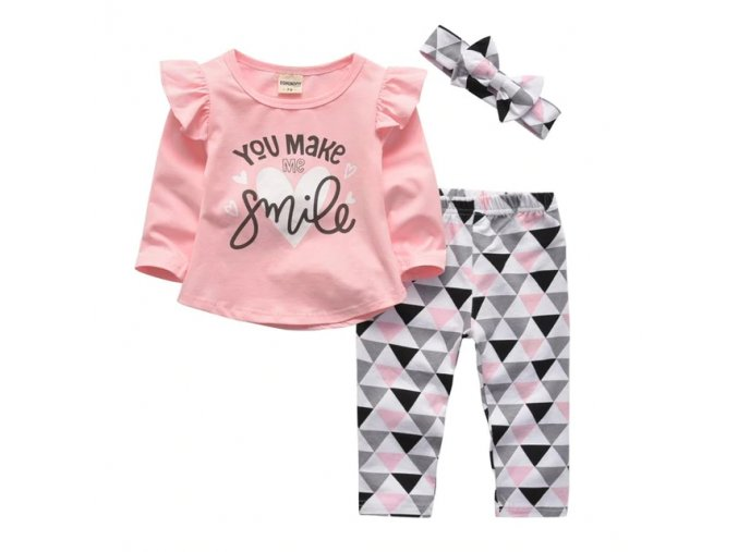 0 variant 3pcs newborn baby girls clothes set letter you make me smile long sleeve tops casual pants and headband infant clothing outfits