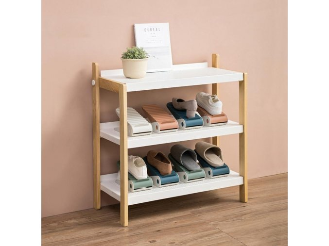mainimage04 Colors Durable Adjustable Plastic Finishing Shoe Care Dormitory Rack Cabinet Support Slot Space Saving Double