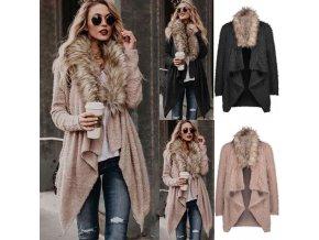 Dámský kabát s kožešinou
