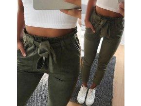 Dámské kalhoty / kostkový vzory / zavazování na mašli