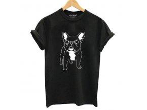 Dámské tričko s buldočkem (barva Bílá, Velikost S)