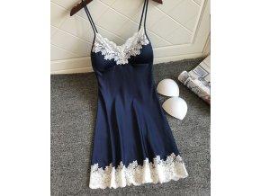 Dámská krajková noční košilka (barva Modrá, Velikost S)