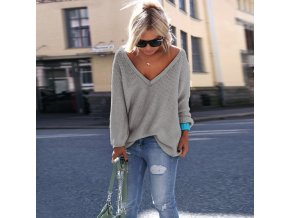 Dámský svetr s výstřihem (barva Bílá, Velikost S)