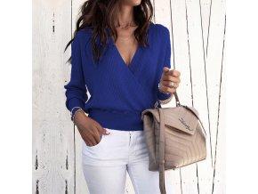 Dámský zavinovací svetr (barva Modrá, Velikost S)