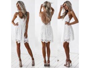 Dámské krajkové šaty (barva Bílá, Velikost S)