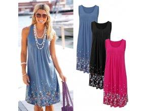 Dámské šaty s květinami (barva Modrá, Velikost S)