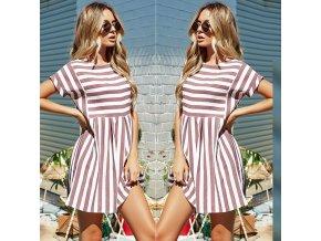 Dámské pruhované šaty (barva růžová, Velikost 2XL)