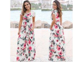 Dámské letní dlouhé šaty (barva Bílá, Velikost S)