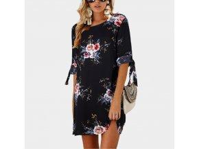 Dámské šaty s květinami (barva černá, Velikost S)