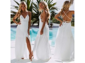 Dámské dlouhé letní šaty (barva Bílá, Velikost S)