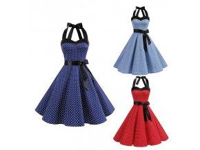 Dámské retro šaty s puntíky (barva Modrá, Velikost S)