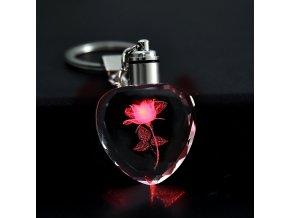 LED přívěsek na klíče s růží