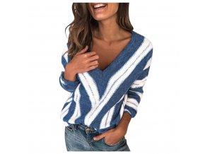 Dámský pruhovaný svetr s dlouhými rukávy