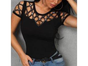 Dámské stylové tričko s průstřihy