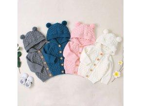 Dětský pletený svetr s kapucí