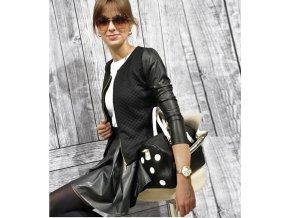 Dámská mikina s koženými rukávy