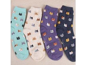 Dámské ponožky se vzorem koček