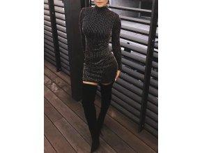 Dámské černé třpytivé šaty