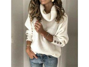 Dámský svetr s rolákem a knoflíky