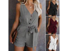 0 main hot summer of 2020 button up jumpsuit casual plain sleeveless jumpsuit style womens waist leg pants casual wear