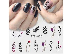 Samolepky na nehty - černé květy