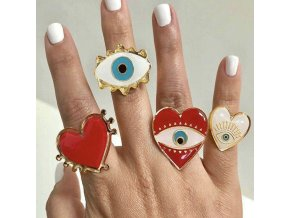 0 main qingwen 2019 new adjustable gold red heart evil eye fashion rings for women popular cute evil eye love heart ring ca4627w