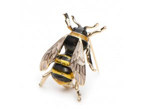 1 main wulibaby enamel bumblebee brooches men womens alloy yellow bee insect brooch christmas gift broche banquet pins