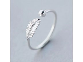 1 main kinitial simple leaf feather rings leaf bird feather open adjust ring christmas minimalist jewelry for women girls charm gift