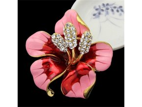 1 main christmas gift enamel brooch rhinestone crystal lily flower brooches for women jewelry birthday gift