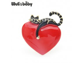 0 main wulibaby original enamel heart lazy cat brooch pins for lovers gift wedding jewelry brooch 2019 christmas new year gift