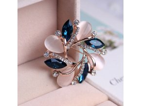 0 main bauhinia of rose gold opal series brooch pin fashion rhinestone badge pin christmas gift broches rozet pins brooch accessories