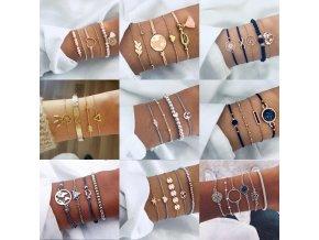 0 main tocona bohemian beads chain bracelets bangles for women fashion vintage heart compass gold color chain bracelets sets jewelry