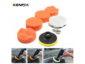 0 main 7pcs 3 car sponge polishing pad set polishing buffer waxing adapter drill kit for auto body care headlight assembly repair