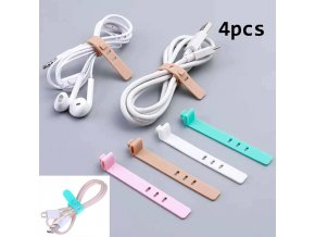 0 main 4pcs silicone cable organizer usb data wrap cord winder wire protector holder office stationary desk set accessories supplies