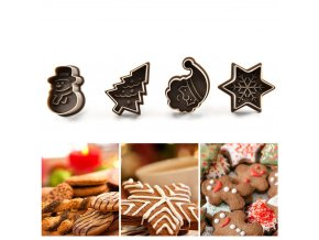 2 main new 4pcs cookie stamp biscuit diy mold christmas 3d cookie cake plunger cutter baking mould xmas cookie cutters color random