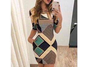 0 main new elegant dress fashion print short sleeved slim round neck dress ladies spring and autumn mini dress