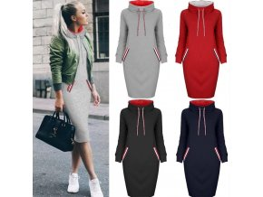 5 main 6 colors autumn women sweater dress slim long sleeves turtleneck drawstring harajuku hoodies moletom feminino ez