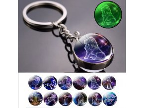 mainimage0Glow In The Dark 12 Constellation Keychain Zodiac Signs Picture Double Side Cabochon Glass Ball Keychain