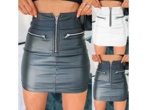 Koženková sukně s vysokým pasem ENY