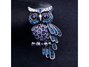 0 main ancient womens mens owl korean zinc alloy trendy imitation rhinestone blue brooch badge christmas gifts accessories