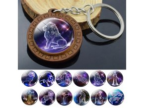 0 main 12 constellation keychain wooden pendant zodiac sign keychain aries taurus gemini cancer leo scorpio men women birthday gifts