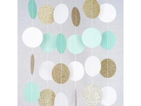 0 main mintwhitegold glitter circle dots paper party garland backdrop celebration wedding birthday baby shower events festival decor