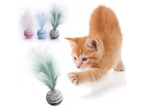 Hračky pro kočky - kulička s pírkem