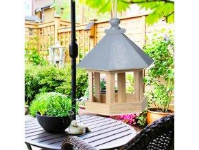1 main 30 wooden bird feeder hanging for garden yard decoration hexagon shaped with roof outdoor bird nest wooden garden supplier (1)